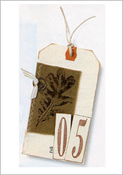 Fabric stamped leaf tag image