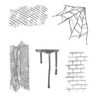 Ghoulish Grunge Wood-Mount Stamp Set