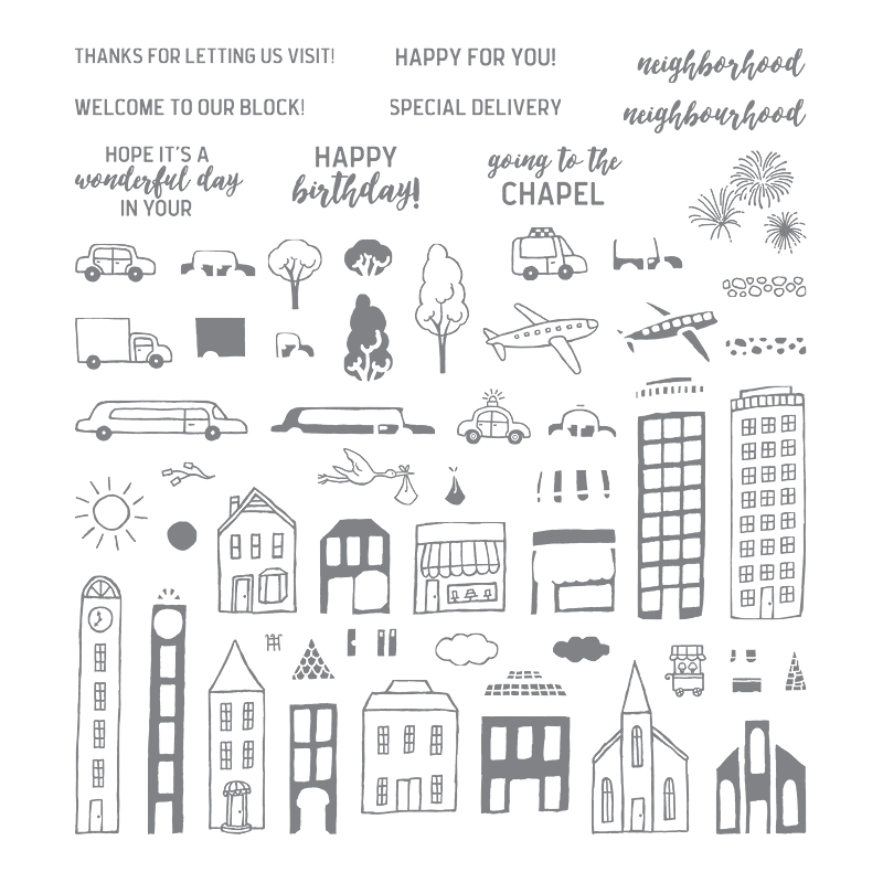 Stampin Up Photopolymer Stamp Set Called In The City Large Hostess Set New