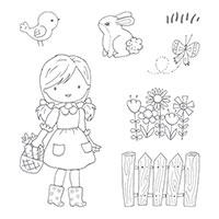 Garden Girl Wood-Mount Stamp Set