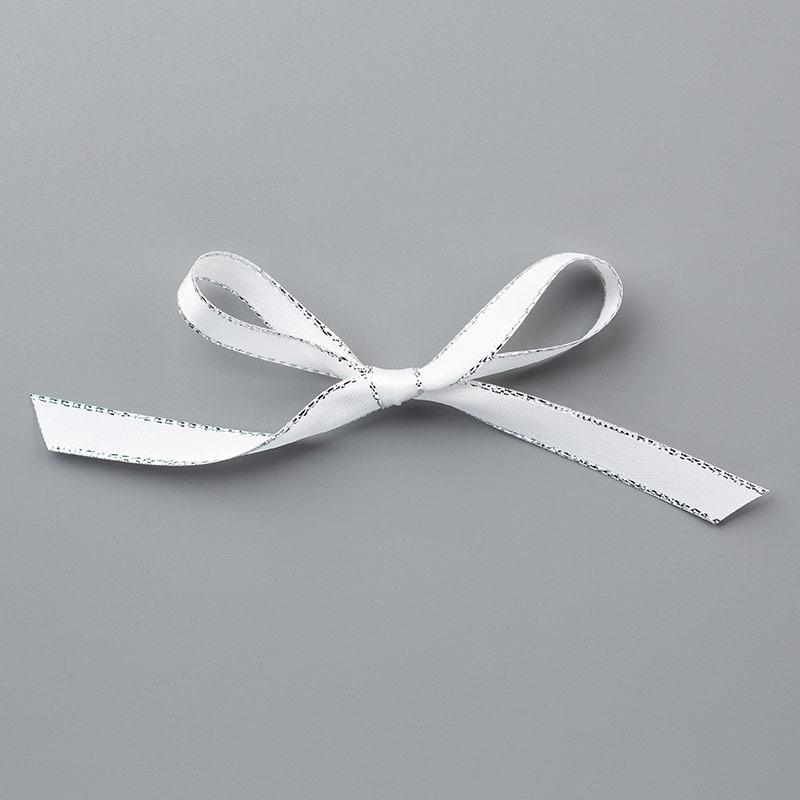 """144213 - 3/8"""""""" (1cm) Metallic-Edge Silver Ribbon"""