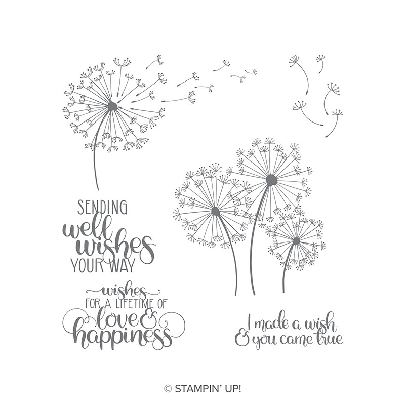 Dandelion Wishes Wood Mount Stamp Set By Stampin Up