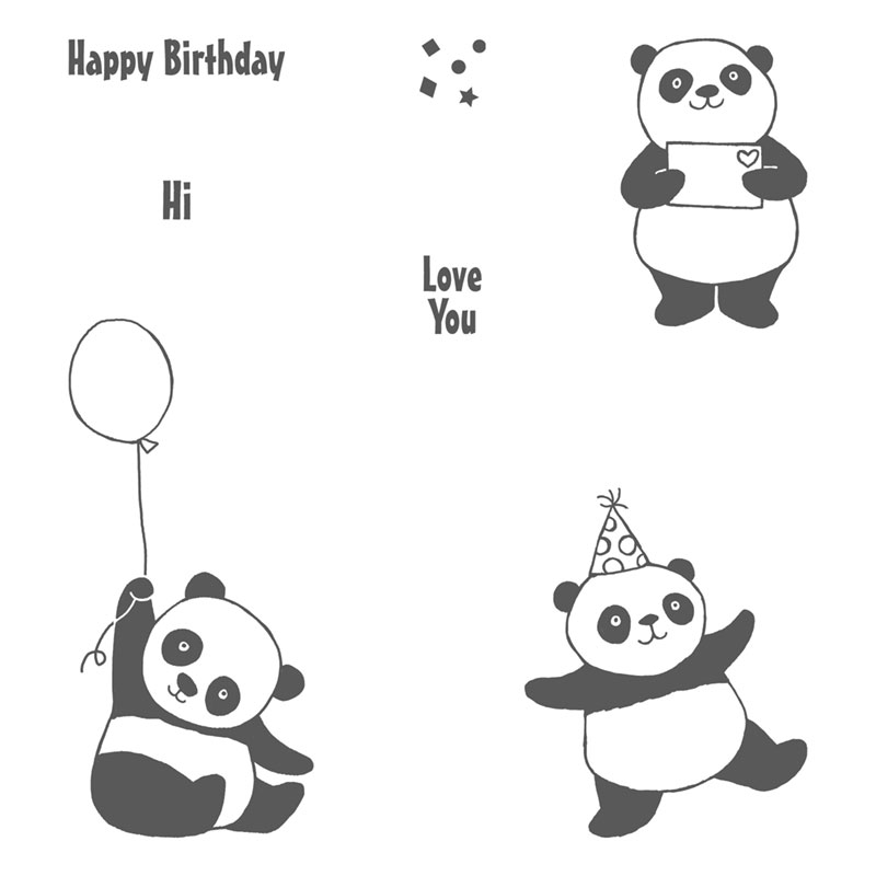 147221 - Party Pandas Clear Stamp Set